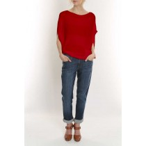 Elizabeth Knit Top-Red-M